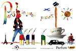BIC 4 parfums (Jour for Day - Nuit for Night - For Men - Sport for Men) 1989 US spread 'Paris in your pocket - Four crazy little pocket perfumes - From Paris straight to you'
